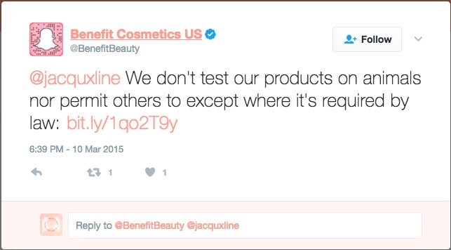 They're also listed on PETA's list of companies who test on animals: